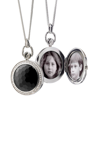 Monica Rich Kosann - Sterling Silver Black Onyx Round Pocket Watch
