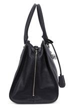 Alexander McQueen - Padlock Black Grained Leather Medium Satchel