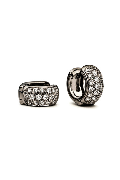 Paul Morelli - White Gold Black Diamond Hoops