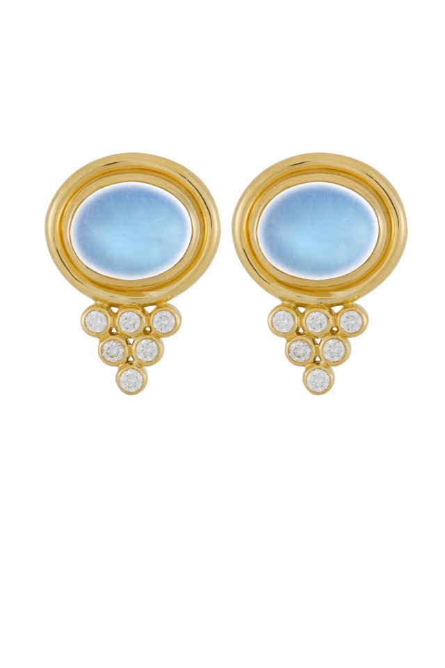 Yellow Gold Blue Moonstone Studded Earrings