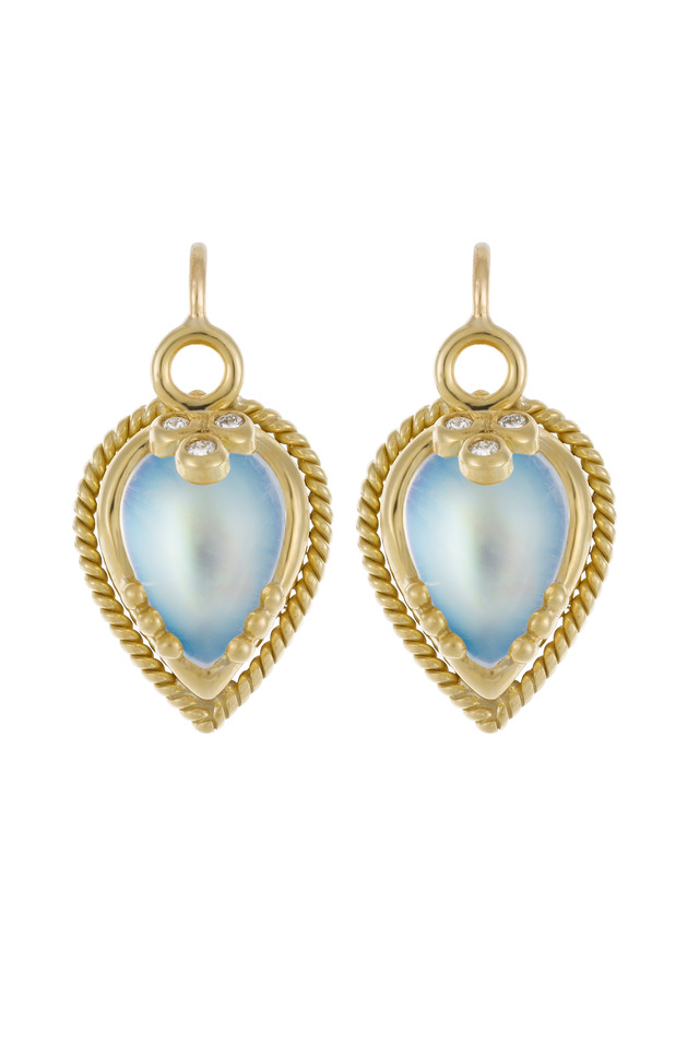 Yellow Gold Beaded Blue Moonstone Earrings