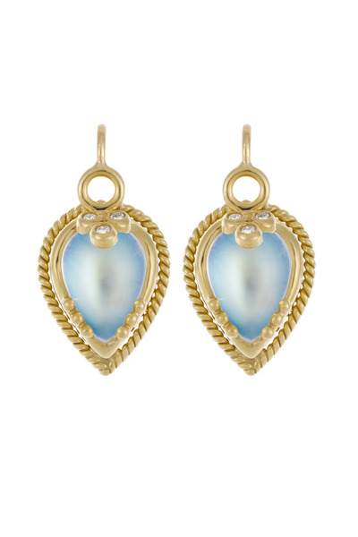 Temple St. Clair - Yellow Gold Beaded Blue Moonstone Earrings