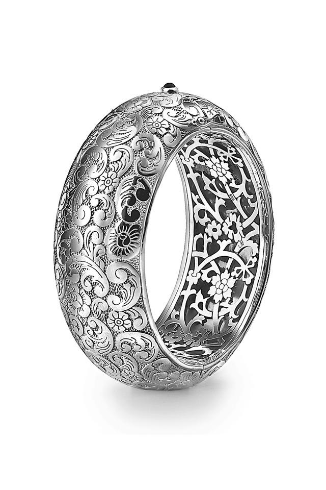 Sterling Silver Black Onyx Patterned Cuff Bracelet