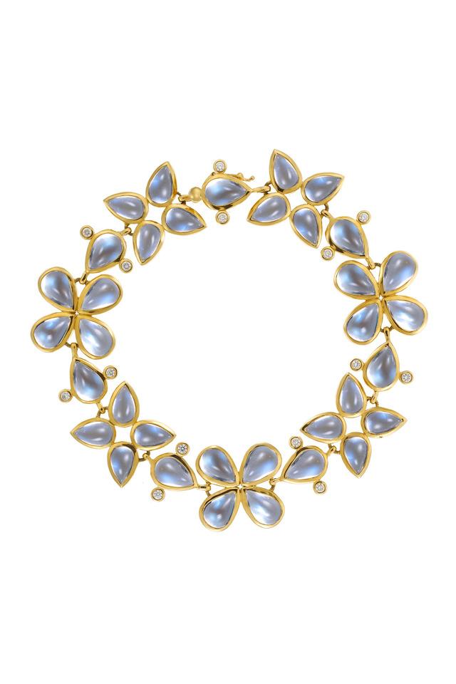 Yellow Gold Blue Moonstone Leaf Bracelet