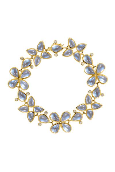 Temple St. Clair - Yellow Gold Blue Moonstone Leaf Bracelet