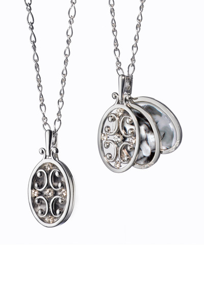 Monica Rich Kosann - Sterling Silver White Sapphire Oval Gate Locket