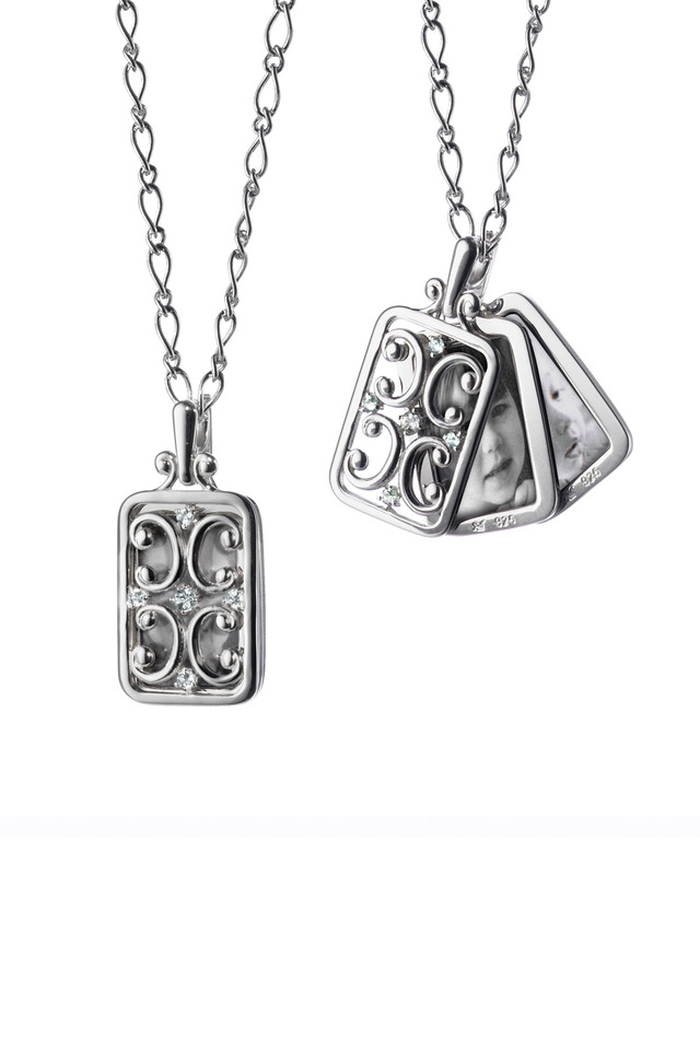 Sterling Silver White Sapphire Gate Locket