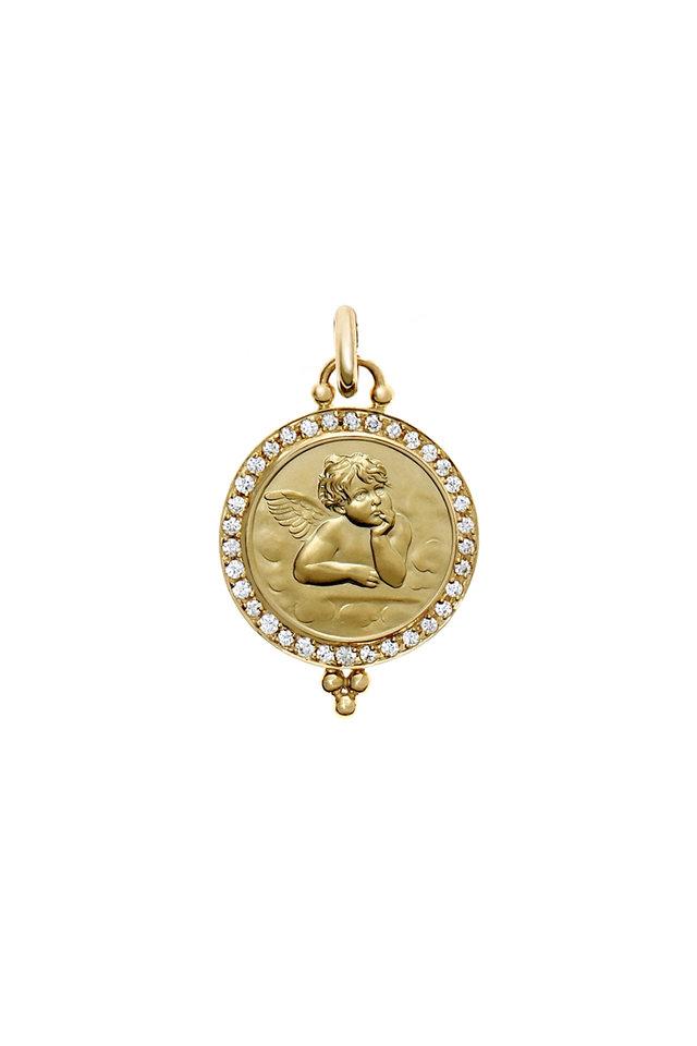 18K Yellow Gold Pavé Diamond Angel Pendant, 16mm