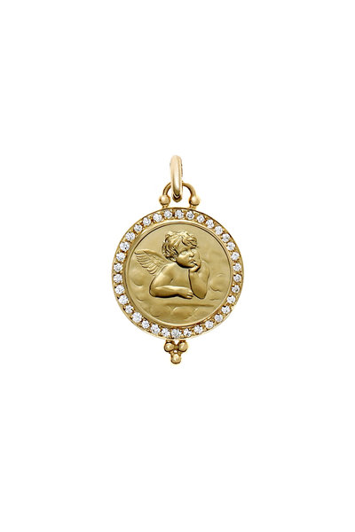 Temple St. Clair - 18K Yellow Gold Pavé Diamond Angel Pendant, 16mm