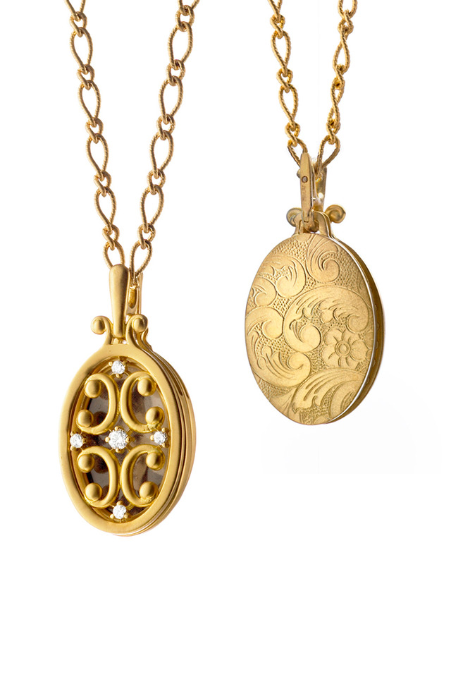 Yellow Gold Oval Gate Locket Necklace