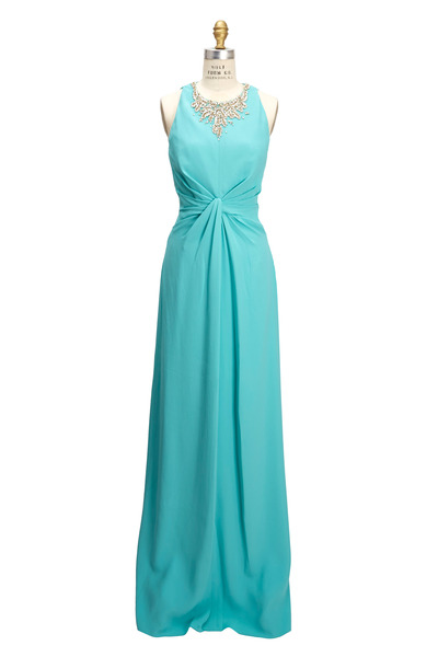 Jenny Packham - Turquoise Crepe Gown