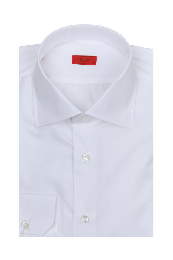 Isaia Solid White Dress Shirt