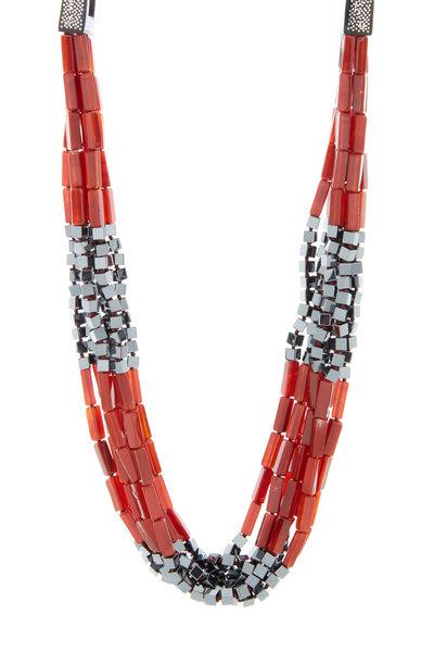 Patricia von Musulin - Sterling Silver Carnelian & Hematite Necklace