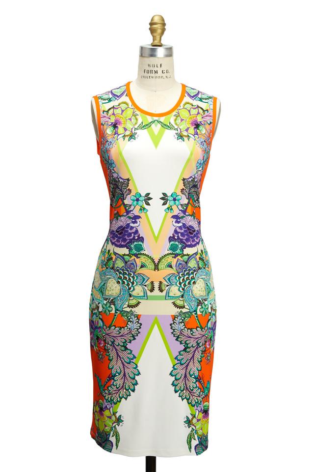 Multicolored Sleeveless High-Neck Print Dress