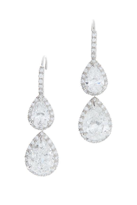 Louis Newman 18K White Gold Diamond Drop Earrings