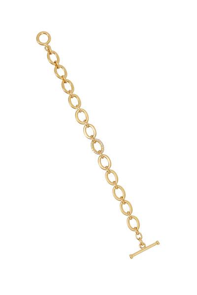 Caroline Ellen - Yellow Gold Flat Medium Oval Link Diamond Bracelet