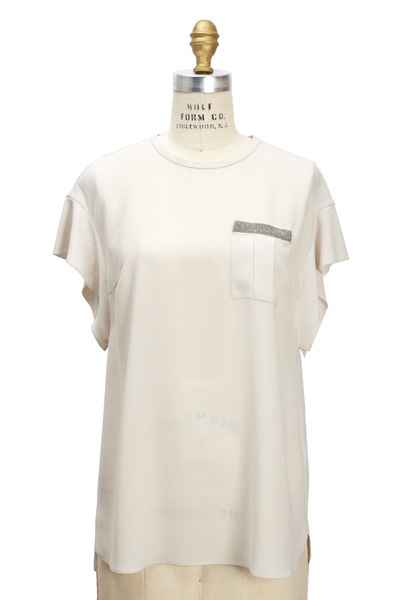 Brunello Cucinelli - Vanilla Silk Monili T-Shirt