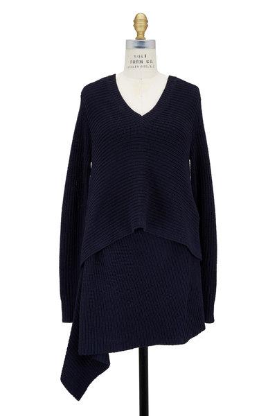 Derek Lam - Navy Blue Cashmere Asymmetric V-Neck Tunic Sweater