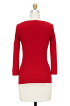Michael Kors Collection - Red Ribbed Cashmere V-Neck Sweater