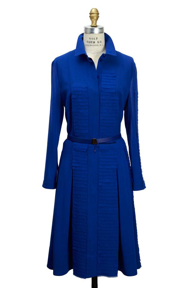 Satellite Blue Wool & Crepe Dress