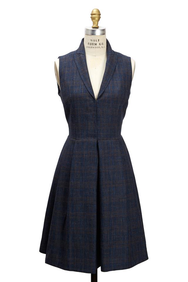 Blue Silk & Linen Coat Dress