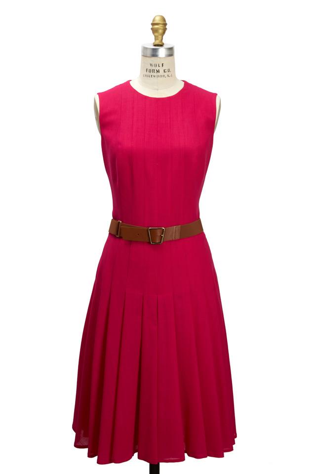 Fuchsia Wool Sleevless Belted Dress
