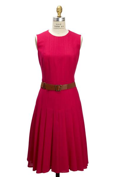 Akris - Fuchsia Wool Sleevless Belted Dress