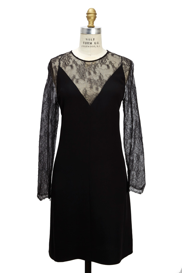 Black Cady Long Sleeve Lace V-Neck Dress