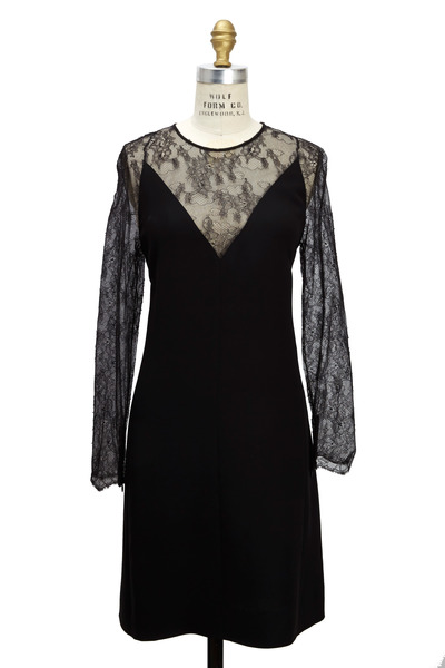 Valentino - Black Cady Long Sleeve Lace V-Neck Dress