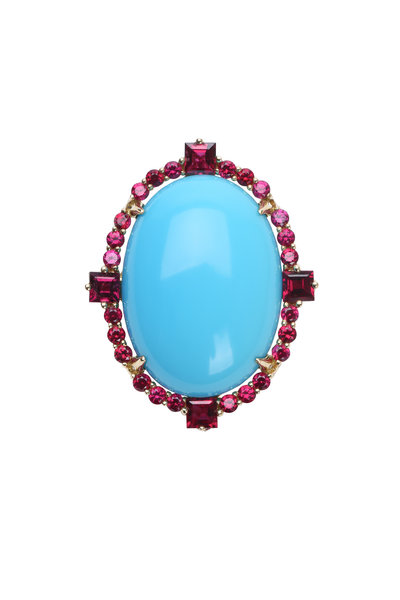 Paul Morelli - 18K White Gold Turquoise & Ruby Ring
