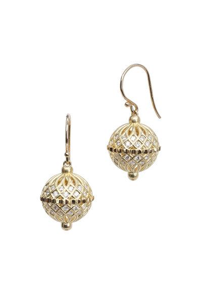 Paul Morelli - Gold White Diamond Spiral Mesh Dangle Earrings