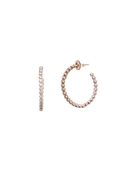 Kwiat - 18K Pink Gold Diamond Bezeled Earrings