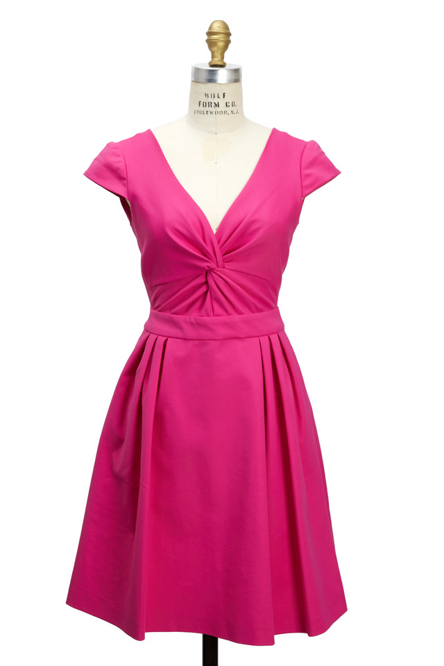 Pink V-Neck Skirt Dress