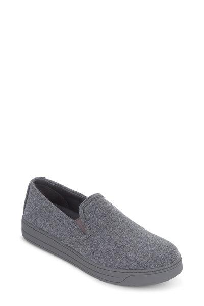 Prada - Gray Felt Slip-On Sneaker