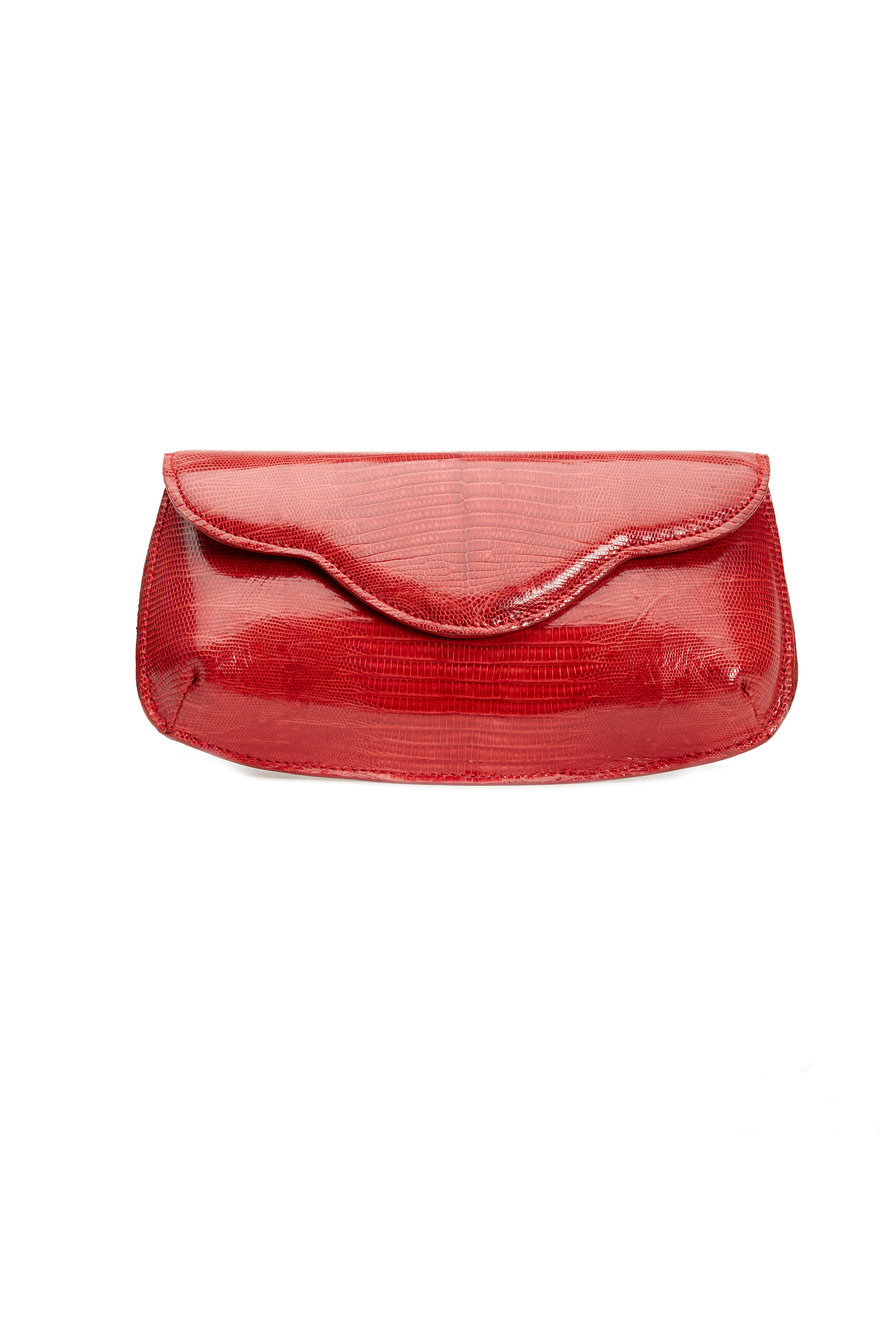 Sofia Red Lizard Envelope Clutch