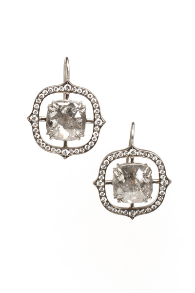 Sylva & Cie - Platinum Rough & White Diamond Earrings