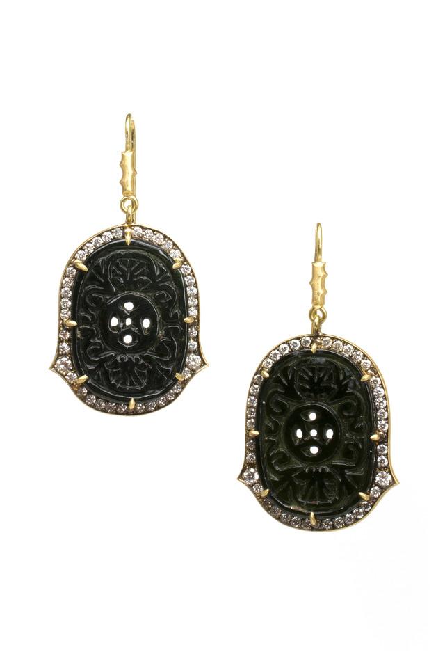 Gold Black Jade Diamond Earrings