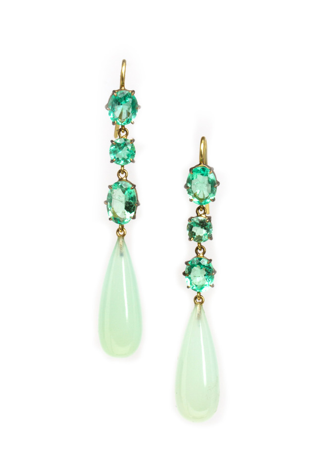Gold Emerald And Chalcedony Drop Earrings