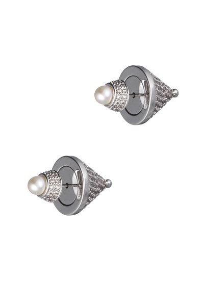 Eddie Borgo - Silver Plated Pearl Crystal Front-Back Cone Studs