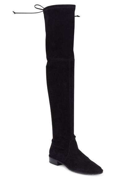 Stuart Weitzman - Lowland Black Stretch Suede Over-The-Knee Boot
