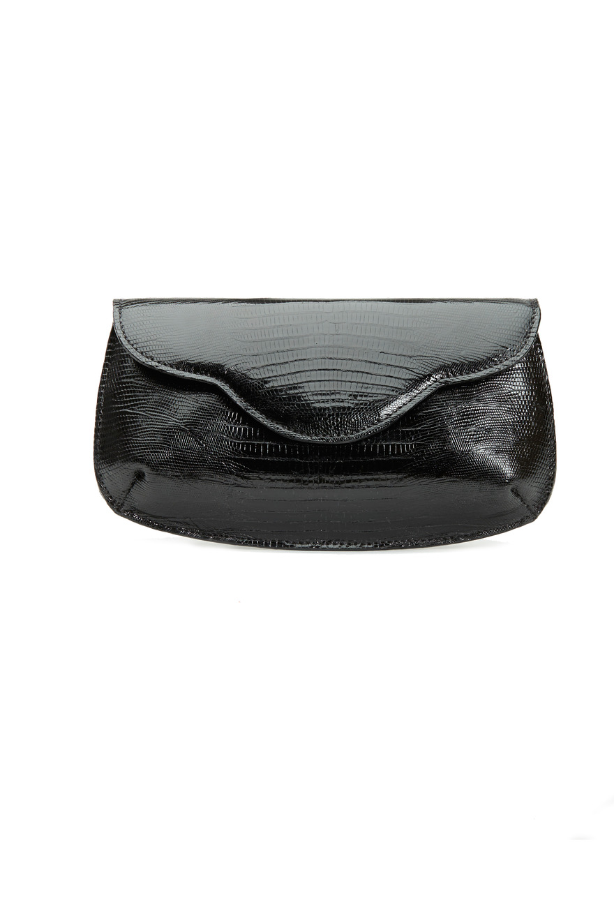 Sofia Black Lizard Swirl Flap Clutch