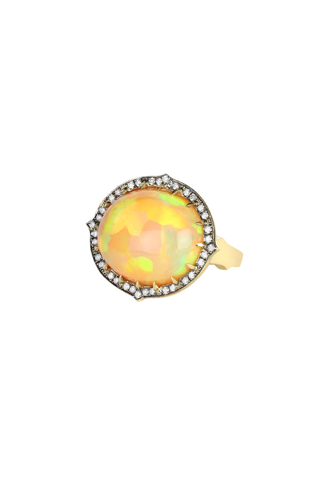 18K Yellow Gold Ethiopian Opal Diamond Ring