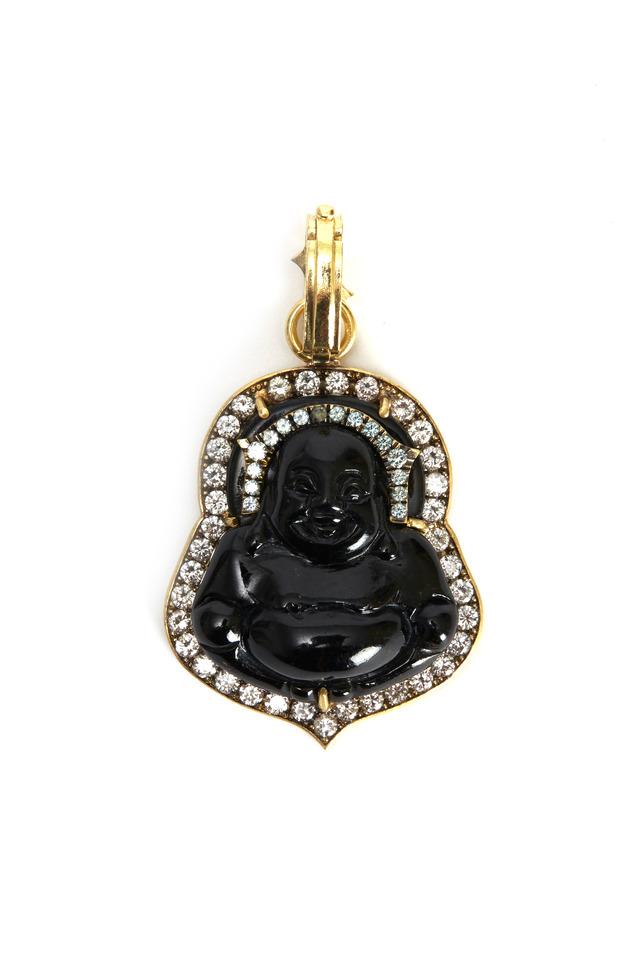 Buddha Black Jade Diamond Pendant