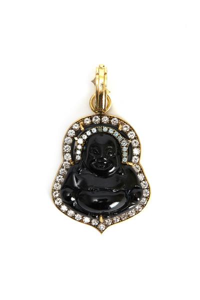 Sylva & Cie - Buddha Black Jade Diamond Pendant