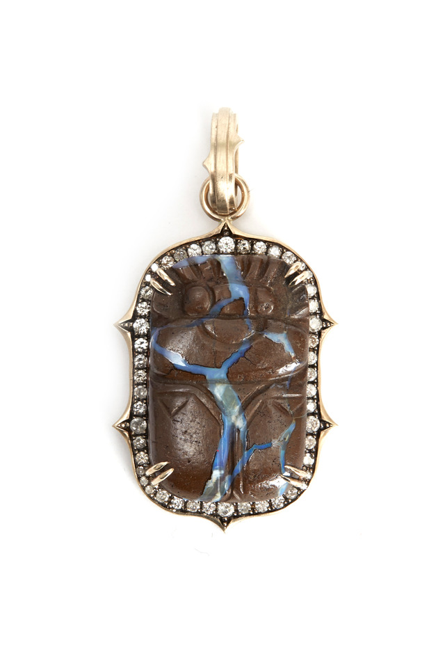 White Gold Hand Carved Scarab Diamond Pendant