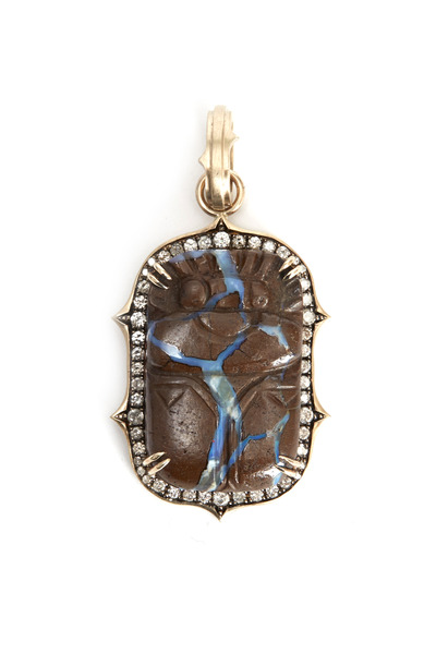 Sylva & Cie - White Gold Hand Carved Scarab Diamond Pendant