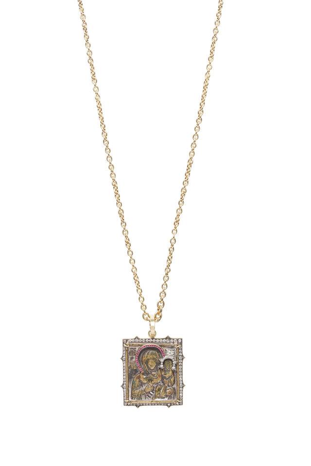 Gold Mary & Jesus Ruby Diamond Pendant