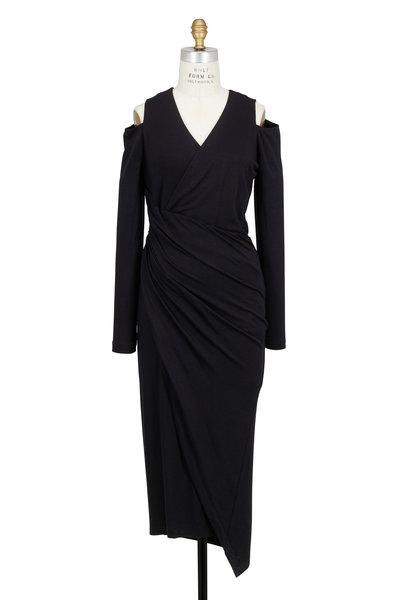 Donna Karan - Black Jersey Cold Shoulder Draped Dress