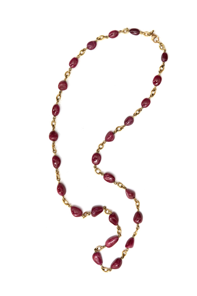 Yellow Gold Natural Ruby Bead Necklace