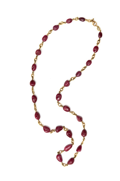 Sylva & Cie - Yellow Gold Natural Ruby Bead Necklace